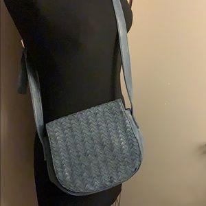 Neiman Marcus Blue Woven Crossbody Bag
